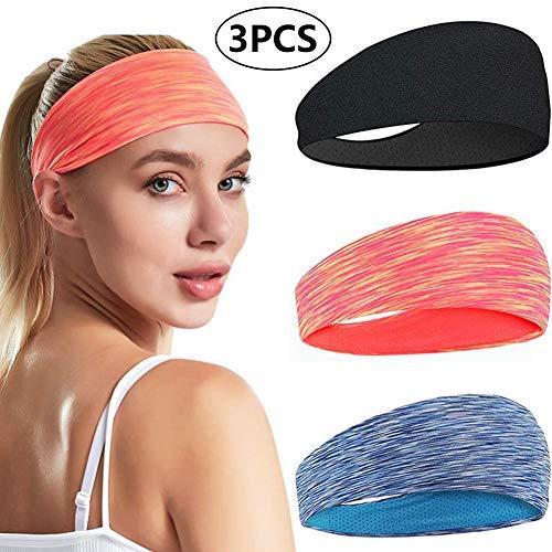 BETOY Sport Stirnband, 3 Pack Schweißband Stirnband Anti Rutsch für Herren und Damen für Jogging Laufen Wandern Fahrrad- und Motorrad Fahren, Pink Blau Schwarz
