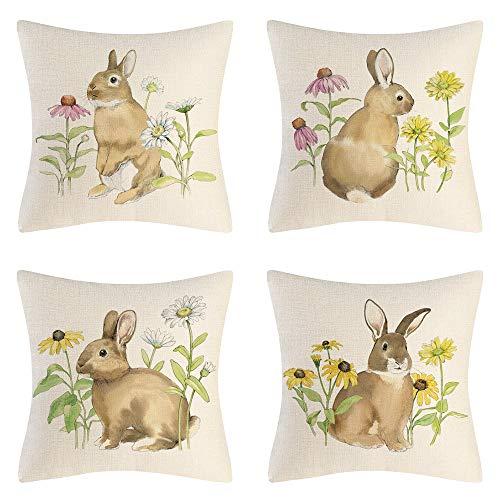 AMZQJD Juego de 4 fundas de cojín de Pascua, diseño de elementos de conejo, algodón, lino, fundas de almohada (cojín de Pascua 06, 40 x 40 cm)