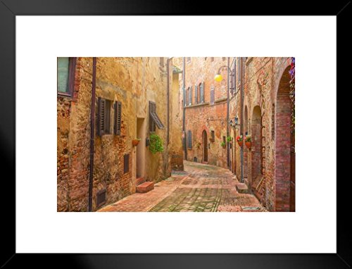 Poster Foundry Narrow Street in Old Italian Town Tuscany Italy Photo Art Print Matted Framed Wall Art 26x20 inch