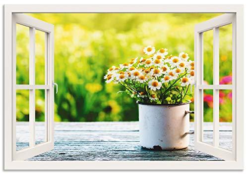 Artland Wandbild Alu für Innen & Outdoor Metall Bild 70x50 cm Botanik Blumen Gänseblümchen Fotografie Grün Fensterblick Garten mit Gänseblümchen T4UG
