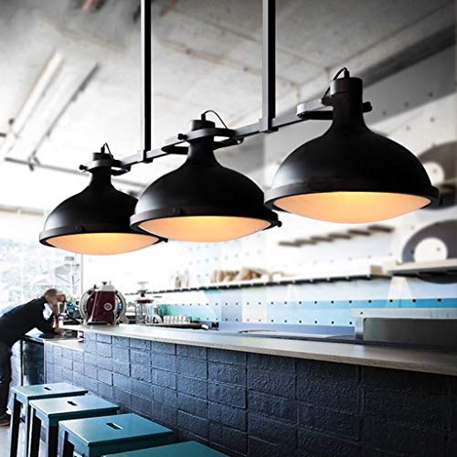 JIAJULL Industriependelleuchte, Loft Industrieller Kronleuchter, Billiardtisch Kronleuchter Beleuchtung, E27, 3-Light, Restaurant Retro Theke Amerikanische Landschaft Pastoral