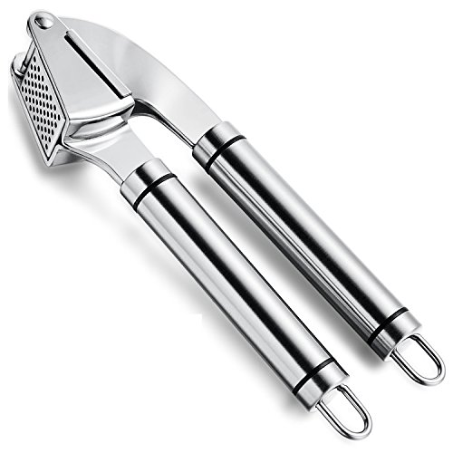 AUYE Professional Stainless Steel Kitchen Garlic Press and Garlic Peeler Includes Silicone Tube Peeler and Cleaning Brush - Best Choice to Mince & Crush Cloves and Ginger