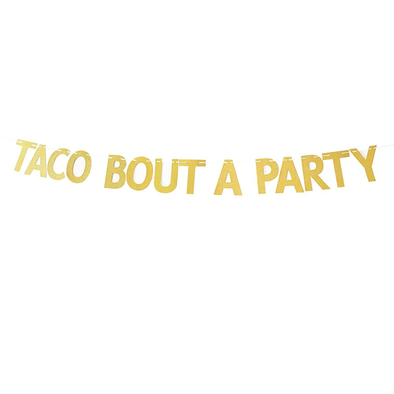 Gold Glitter Taco Bout A Party Banner Mexican Theme Party Decorations Bunting Photo Booth Props Signs Garland