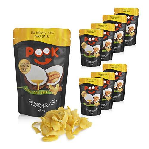 POOK Kokosnuss-Chips Mango Sea Salt 8er-Set (8 x 40 g), vegan | geröstete Kokosnuss-Streifen mit Meersalz und Mango | thailändischer Snack aus Kokosnussfleisch