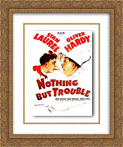 Hollywood Photo Archive 15x18 Gold Ornate Framed and Double Matted Museum Art Print Titled Laurel and Hardy - Nothing But Trouble, 1944
