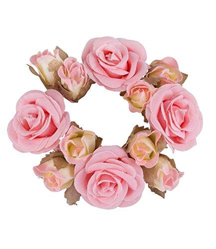 SIX Haargummi: Haarschmuck mit Rosen aus Stoff, perfekt für den Dutt, fester Halt, ideal für Hochsteckfrisuren, Karneval, rosa (05-512)