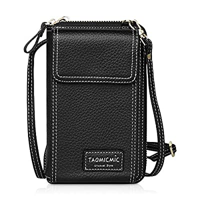 Crossbody Cell Phone Bag PU Leather Women's Shoulder Purse Wallet with Adjustable Strap for Smartphone Credit Cards Passport, Girls Mini Cross Body Messenger Bag for Travel Shopping Outdoor (Black)