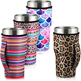 4 Pieces Coffee Cup Sleeve Reusable Neoprene Insulated Sleeves Cup Cover Holders Drinks Sleeve Holder for 30-32 oz Cold Hot Beverages, 4 Styles