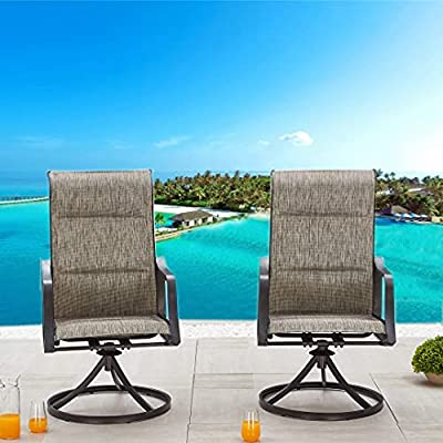 LOKATSE HOME Outdoor Patio Swivel Chair Set Sling(Set of 2), 2, Grey