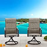 LOKATSE HOME Outdoor Dining Swivel Chairs Patio Sling Rocker Chair with Steel Metal Frame (Set of 2), Grey