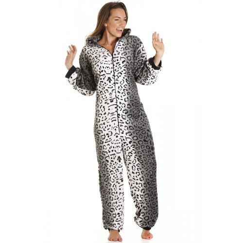 Camille - Combinaison pyjama en polaire - imprimé léopard des neiges - femme - tailles 36 à 50 - (taille fabricant 12/14) FR 40/42