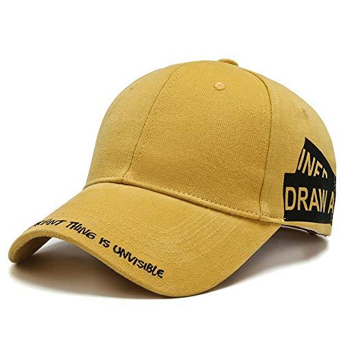 Unisex Sports Cap gewaschener Baumwolle Baseball Cap Men & Women Casual Adjustable Außen Trucker Hysteresen-Hut,Gelb