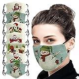 XiaoCheyh Erwachsene Weihnachten Mundschutz Multifunktionstuch, Schneemann Atmungsaktive Staubdicht Baumwolle Stoffmaske, Waschbar Wiederverwendbar Einstellbar Mund-Nasenschutz Bandana Halstuch