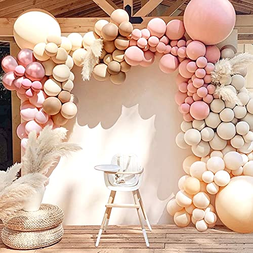 Sweet Baby Co. Dusty Rose Pink Balloon Garland Kit Arch with Matte Mauve, Nude, Taupe, Caramel, and Rose Gold Metallic Balloons Neutral Decorations for Baby Bridal Shower, Birthday Party Ballon Wall