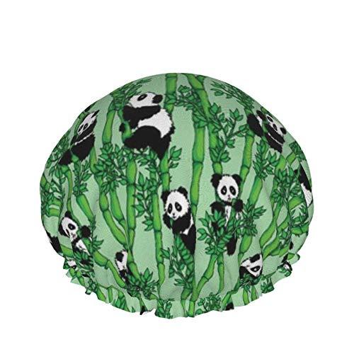 Gorro de baño reutilizable impermeable de bambú Panda para mujeres de pelo largo