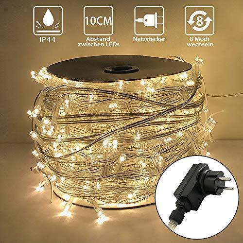 Aufun 30m LED Lichterkette 300LEDs Warmweiß - Außenlichterkette Weihnachtsbaum Lichterkette mit 8 modi Wasserdicht IP44 Weihnachtsbeleuchtung - für Hochzeit, Party, Garten (30m, 300LEDs, WarmWeiß)