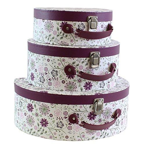 JVL Floral Design-Kollektion Koffer Style Speicher, Lila, Set von 3