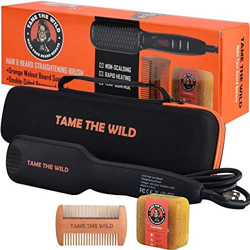 TAME'S ELITE BEARD STRAIGHTENER BRUSH - Anti-Scald Beard Straightening Comb - Heated Beard Brush - Ionic - Ceramic - 12 Temp Settings - Best for Beards Over 2