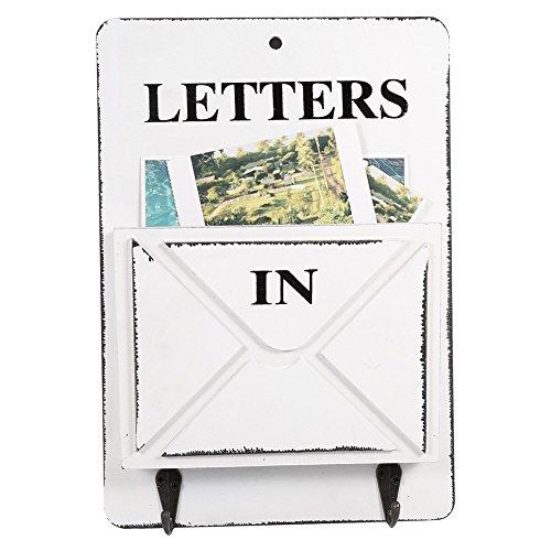 Aramox Boîte aux Lettres en Bois Porte-courrier Mural et Porte clés Mural Décoration de la Maison avec Corchet(Blanc)
