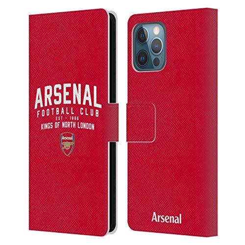 Head Case Designs Licenciado Oficialmente Arsenal FC Kings of North London Tipografía Carcasa de Cuero Tipo Libro Compatible con Apple iPhone 12 Pro MAX