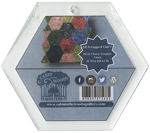 "All Scrapped Out 5"" Hexie Charm Quilting Template Ruler, 1/4 Thick Acrylic Hexagon"