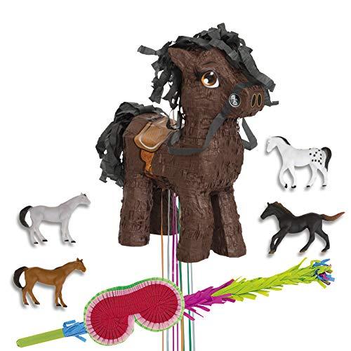PartyMarty Pinata Set-Pinata Pferd Pull + Favour Pack 10 Stück Ponys Pferde + Augenbinde + Schlagstock, Pony, für Kindergeburtstag, Geburtstag, Beschäftigung für Kinder