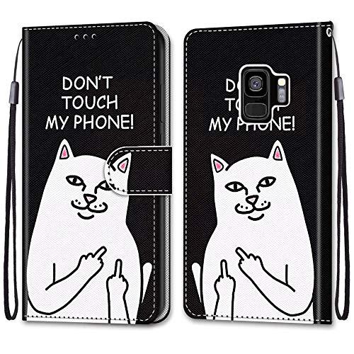 Nadoli Handyhülle Leder für Samsung Galaxy S9 Plus,Bunt Bemalt Lustig Weiße Katze Trageschlaufe Kartenfach Magnet Ständer Schutzhülle Brieftasche Ledertasche Tasche Etui