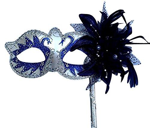 Life Is Good Dames Bleu ET Argent ÉTINCELANT VÉNITIEN Mascarade Masque avec Fleur ET BÂTON