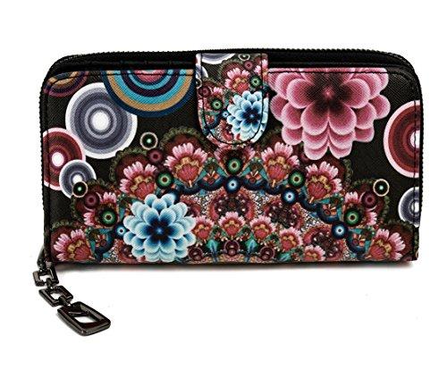Damen Geldbörse Portemonnaie bunt groß mit Blumen-Print XL Damenbörse mit Reißverschluss und extra viele Kartenfächer in Farben Schwarz Blau Beige Rosa Rot Pink von Established SEVENTY9, Farbe:Pink