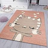 VIMODA kinderzimmer kinderteppich Flauschiger Baby Teppich Glückliches Kätzchen Katze Kinder- Jugendzimmer, Maße:120x170 cm