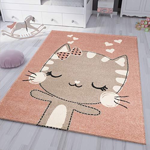 VIMODA kinderzimmer kinderteppich Flauschiger Baby Teppich Glückliches Kätzchen Katze Kinder- Jugendzimmer, Maße:160x230 cm