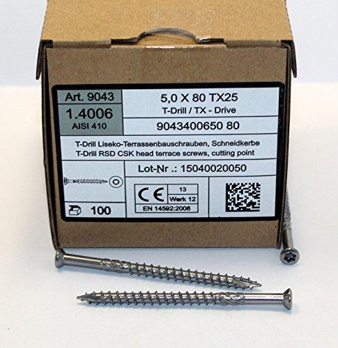 5 x 80 mm Edelstahl C1 Terrassenschrauben gehärtet Torx TX 25, Cutspitze 200 - 1000 Stück wählbar (500)