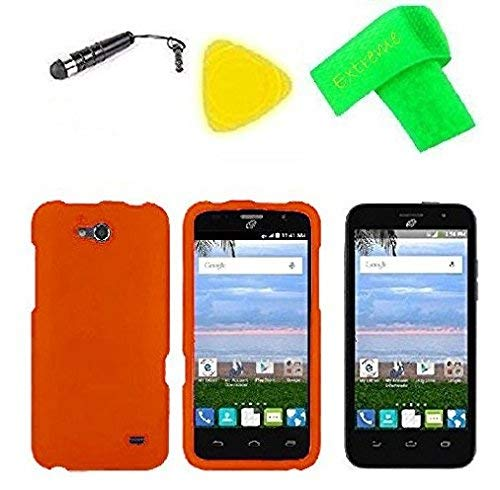 Hard Snap On Phone Cover Case Cell Phone Accessory + Extreme Band + Stylus Pen + Screen Protector + Pry Tool For Straight Talk Tracfone NET10 ZTE Atrium Z793C (Orange)