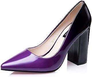 Ying-xinguang Shoes Fashion Thick Heel Shoes Sexy Color Matching High Heel Work Shoes Women's High-Heeled Shoes Comfortable