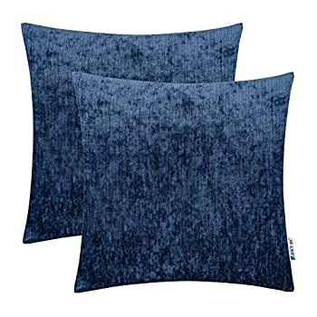 HWY 50 Cashmere Soft Solid Decorative Throw Pillows Covers Set Cushion Cases for Couch Bed Living Room 18 x 18 Inches Navy Blue Comfortable Decor Pack of 2