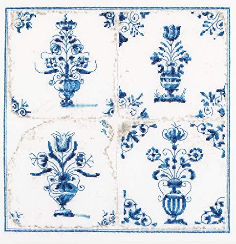 Thea Gouverneur - Kit de Punto de Cruz Contado - 483 - Hilos DMC Preseleccionados - Azulejos Antiguos. Jarrones de flores - Lino - 28cm x 28cm - Kit de Bricolaje