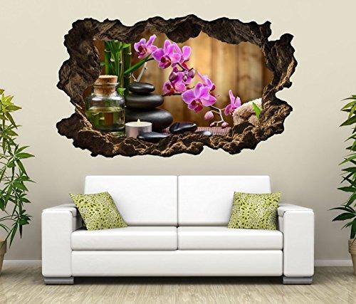 3D Wandtattoo Wellness Steine Orchidee Blumen Öl Massage Bild Spa Wandbild Wandsticker Wohnzimmer Wand Aufkleber 11F209, Wandbild Größe F:ca. 97cmx57cm