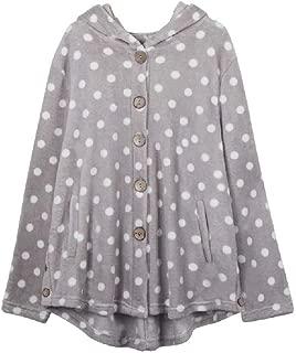 neveraway Womens Fall Winter Single Breasted Polka Dots Hood Loose Coat Jacket