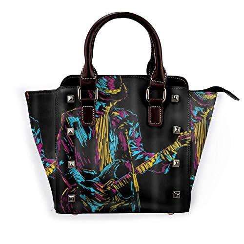 BROWCIN Musikillustration des Sängers, der Gitarre abstrakt Hand gezeichnet spielt Abnehmbare mode trend damen handtasche umhängetasche umhängetasche