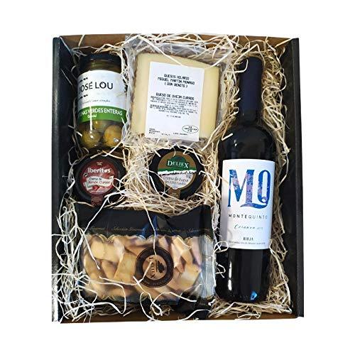 Regalo Caja Picoteo 11 - Vino montequinto crianza, quesos en cuña y para Untar, paté de jamón, Aceitunas y colines.