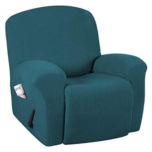 H.VERSAILTEX Super Stretch Couch Covers Recliner Covers Recliner Chair Covers Form Fitted Standard/Oversized Power Lift Reclining Slipcovers, Feature Soft Thick Jacquard, Deep Teal, 1 Pack