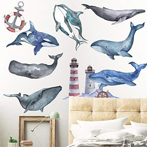Vinilos Pared Para Etiquetas engomadas de la pared del delfín de la ballena para las etiquetas de la pared del ancla del vinilo ecológico del dormitorio de la guardería de la habitación de los niños