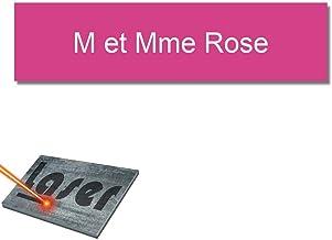 Mygoodprice Naambordje voor brievenbussen, zelfklevend, 10 x 2,5 cm, personaliseerbaar, 1 tot 3 regelen, roze
