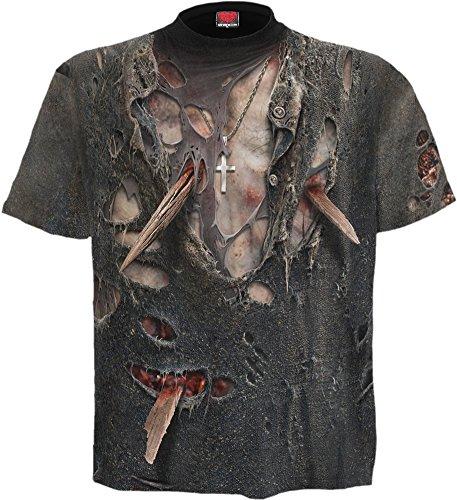 Spiral T-shirt pour homme Motif zombie WRAP Noir Taille M