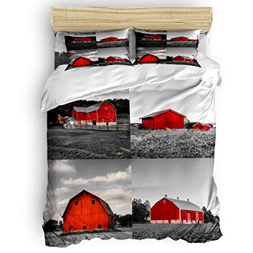 Amaze-Home Farm Barn 4 Pieces Bedding Sets Full Flannel Duvet Cover Sheet Bedspread with 2 Decorative Pillow Shams for Bedroom Dorm Hotel Red Grey