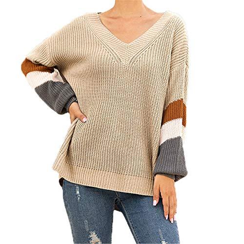 Chenlao7gou621 Pullover Damen Herbst Und Winter Schatz V-Ausschnitt Laterne äRmel Gestreifte Farbblockierende Pullover