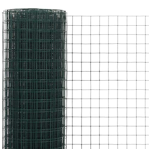 Tidyard Drahtgeflecht Maschendrahtzaun mit PVC-Beschichtung- Hundezaun Katzenzaun Hühnerzaun, grün, 0,5 m Höhe, 10 m Rolle, Maschenweite 19 x 19 mm (L x B), Drahtstärke 0,9 mm