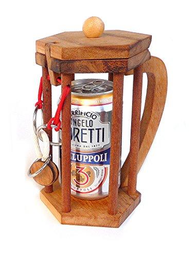 Logica Spiele Art. Bier Nicht für Alkoholiker - Knobelspiel aus Edlem Holz - Geduldspiel - Denkspiel - Flaschenhalter Puzzle - Schwerteig 4/6 Extrem - Leonardo da Vinci Kollektion
