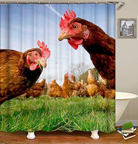Kwboo Tierdekoration. Huhn Auf Dem Rasen. Duschvorhang 180X180Cm. Wasserdicht Und Leicht zu pflegen. 3D Hd-Druck. Freier Haken.