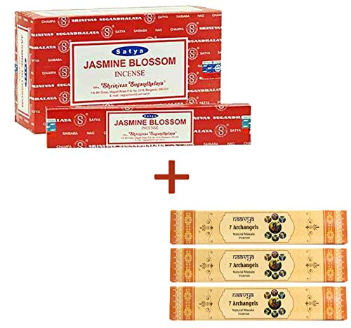 Satya Incense Sticks 12 Pack with Free 3 Pack Naavya Natural Masala Incense Sticks, Total 15 Pack, Best Option (Jasmine Blossom)